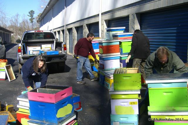 Volunteers sorted hives.