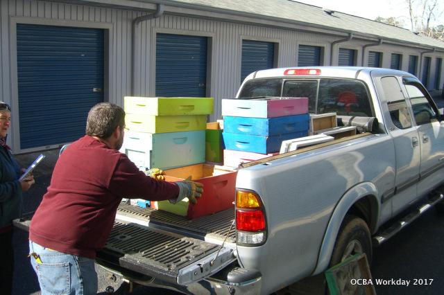 David Eckert loaded 4 hives for OCBA's 2017 Apprentices.