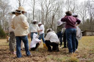 Ryan Chamberlain demonstrating bucket method for Varroa sugar shake