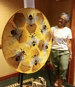 Cynthia Speed's bee quilt generated $760 for apiculture research at NCSU