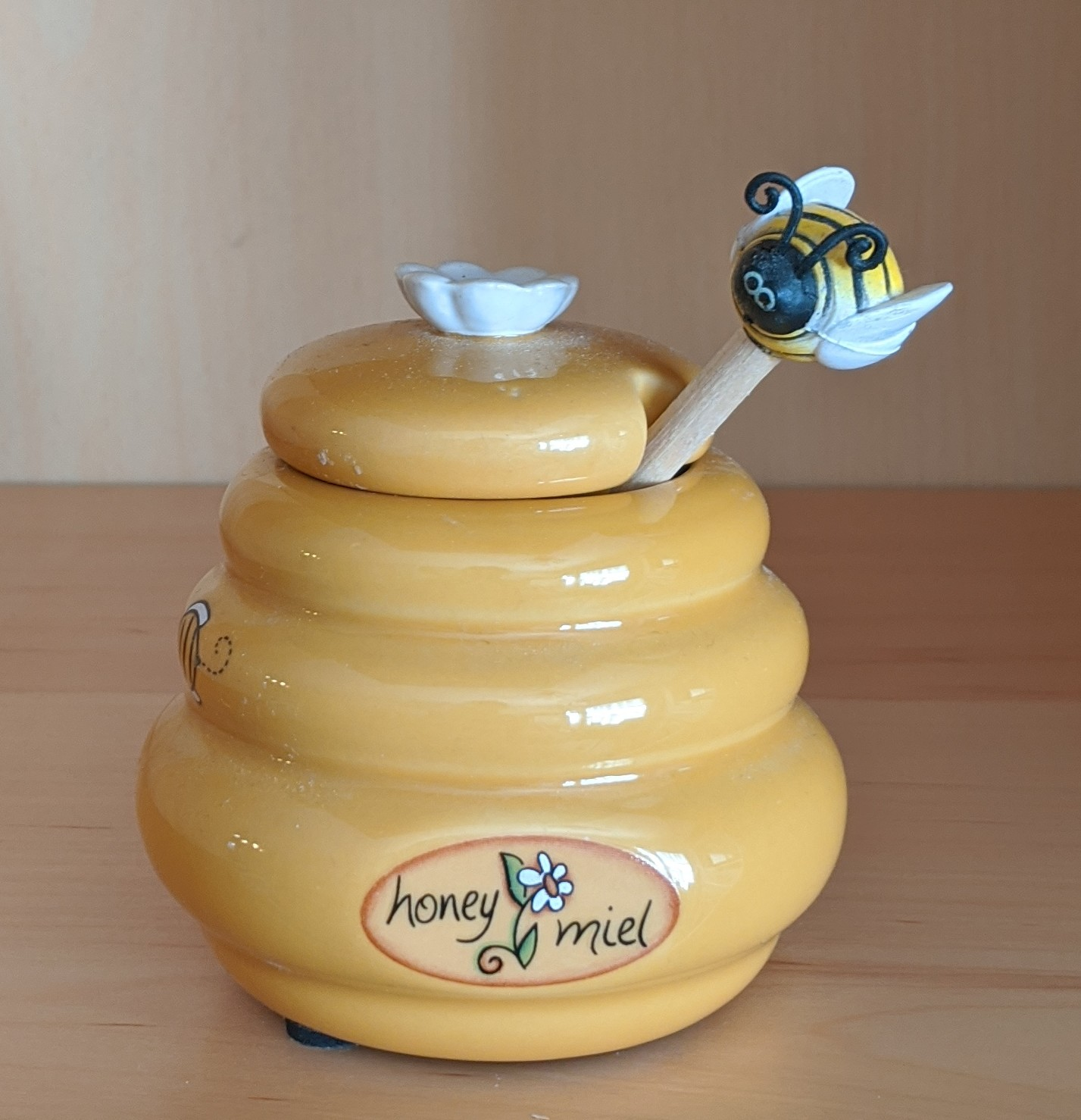 Honey Pot with Flying Bee