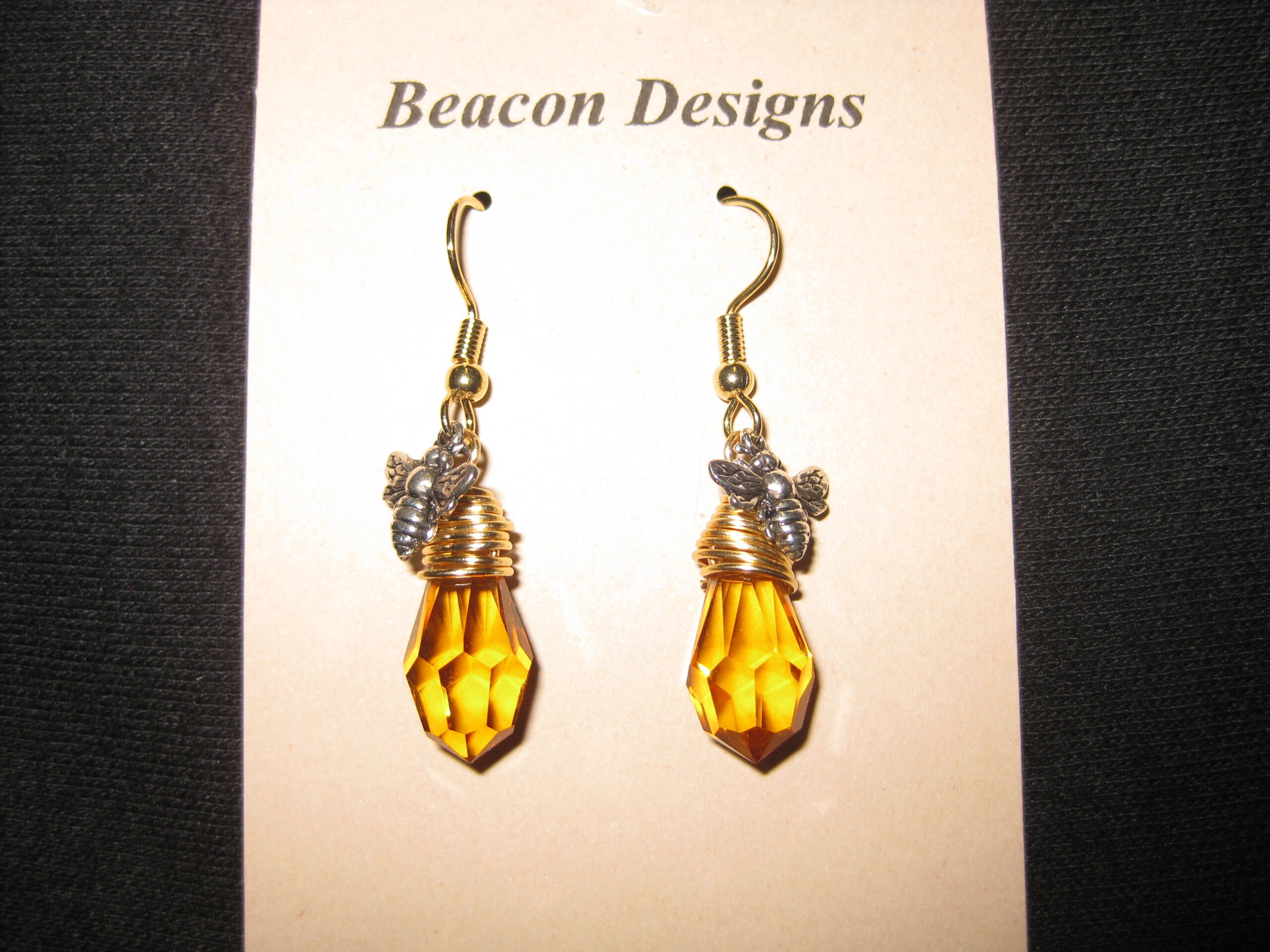 Amber Colored Bee Themed Earrings