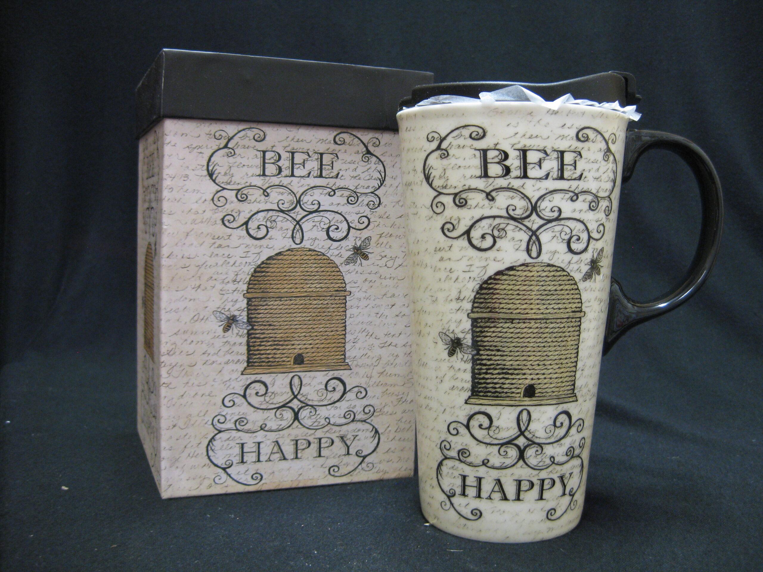 Travel Mug - Straw Bee Skep Design