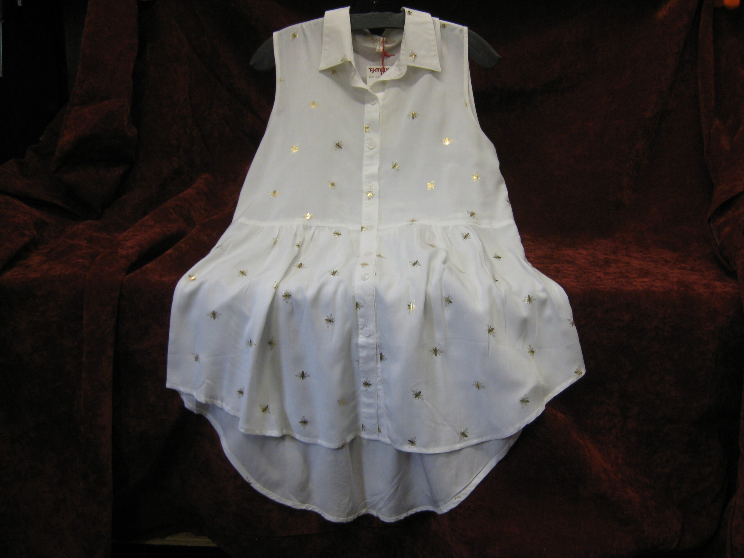 White Sleeveless Tunic with Gold Bees
